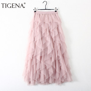 Design de Moda Longo Maxi Tutu Tulle Saias Mulheres Outono Inverno coreano cintura alta saia plissada Preto Rosa Feminino