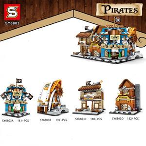 SY6803 4 개 작은 카리브 해 마을 해적 스트리트 뷰 하우스 빌딩 블록 벽돌 아기 장난감 어린이 선물 교육 모델