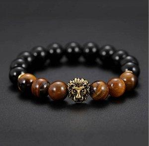 Натуральный тигр глаз камень каменные бусины мужские браслеты шарм Lucky Golden Lion браслеты для мужчин каменные бусины браслет MOQ 20 шт.
