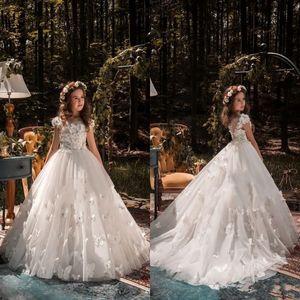 Resmi Durum Kelebek Çocuklar Tutu Çiçek Kız Elbise İlk Communion Parti Balo Prenses Elbise Nedime Düğün Tren