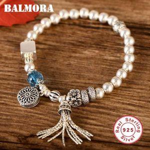BALMORA originale Pure 925 Sterling Silver Beads Bracciali Per Le Donne Nappe Bracciali 18 cm Catena Gioielli Regalo Quotidiano