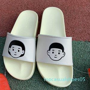 Designer Women Slippers Men Flip Flops White Leather Outdoor Slippers Boy Girl Illustrator Minimalist Sandals Flat Shoes With Box t05