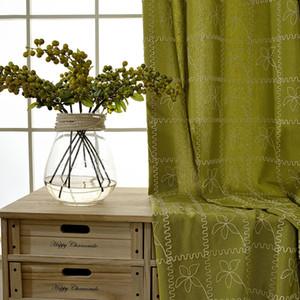 Modern American Country Garden cortina pastoral de lana salón de lino bordado cortina para el dormitorio ventana Blackout Coloque