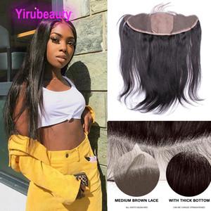 Capelli brasiliani del Virgin 13x4 Pizzo frontale bassa di seta Chiusura Etero 13 Con 4 Frontals Natural Color pizzo bassa di seta al 100% dei capelli umani