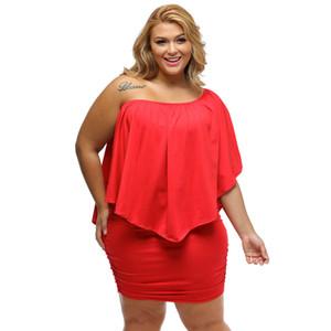 XL XXL XXXL 여성 드레스 섹시한 튜브 톱 수평 목 불규칙한 Flounced 짧은 치마 시스 플러스 사이즈 드레스 DLM22820