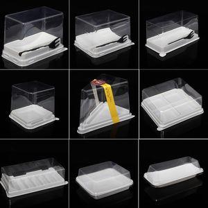 rollos 100pcs torta de mousse de caja capa triángulo caja transparente cajas de torta de plástico redondos blister cuadrado caja freeshipping