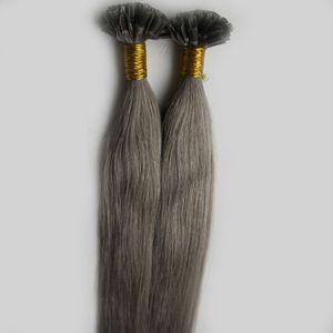 새로운 패션 은빛 그레이 컬러 헤어 확장 케라틴 퓨전 네일 U 팁 인간의 머리 확장 100 % 레미 Pre-bonded 머리 처녀 페루