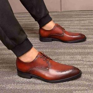 Negro Marrón italiana Brogue zapatos de la oficina tapa del cordón de cuero real de Hombre Oxfords partido formal del vestido de boda de las zapatillas de deporte