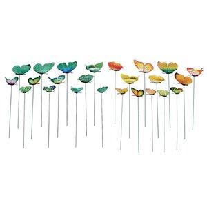 24X 가든 야드 화분 다채로운 기발한 나비 말뚝 분재 꽃 침대 냄비 장식 녹색 노란색