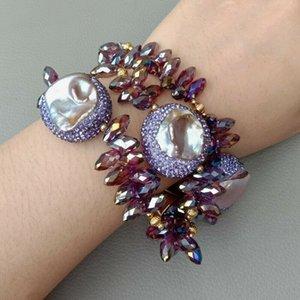 """8"""" 3 fili viola Keshi Bracciale perla di cristallo"""