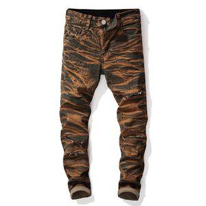Hetero Designer Mens Jeans Buracos estiramento Tie Dye longa dos homens Jeans Mid cintura regular Distrressed Vestuário Masculino