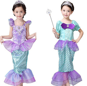 Girls Little Mermaid Princess Dress Cosplay Costumes For Kids Baby Girl Mermaid Dress Up Children Halloween Clothing Mermaid dress LJJK2027