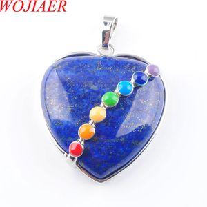 Wojiier Natural Lapis Lazuli Gem Piedra Bead Heart Plateado Plateado Curación Reiki Chakra Colgante Colgante Collar Charm Joyería DN3194