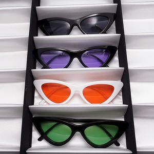 LongKeeper Eyeglasses Small Triangle Frame Cat Eye Sunglasses Women UV400 2020 New Fashion Color Ocean Film Sun Glasses Cool