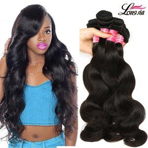 Бразильский Body Wave Virgin Hair Natural Color 8a Необработанные Body Wave 3/4 Связки Оптовая Wet И Волнистые бразильские волосы Плетение Связки