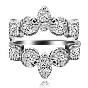 Moda Cor Prata Cubic Zirconia Anéis Enhancers para Mulheres Meninas Anéis de Aniversário de Noivado de Casamento Y507