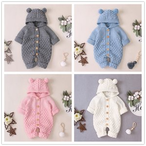 Baby Pompon Hat knitted Hooded Romper Infants Boys Girls Solid Color long sleeve onesie 4 colors cute diamond pattern knitting romper ins