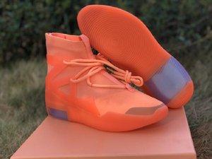 La mejor calidad de diseño zapatos para hombre atlético temor de Dios 1 Naranja pulso asombroso FOG1 Moda Deporte Zapatos zapatillas de deporte viene con la caja