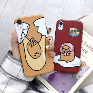 لطيف الكرتون حالة الهاتف iphone6s 7 8plus شخصية متعة أبل X XS XR ماكس بلوري سيليكون حالة الهاتف كسول البيض