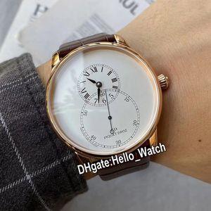 Barato Nuevo 43mm Grande Second Enamel J003033204 Reloj automático para hombre Dial blanco Rose Gold Strap Strap Gents Gents Watches Hello_Watch 4 Color