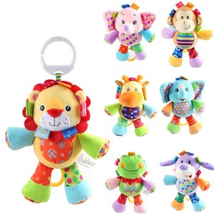 2020 New 7 Design Animais bonitos Bed Sapo Macaco de Bell Dog Elephant Lion Super macio para apaziguar The Bell pré-escolar Educação Plush Toys
