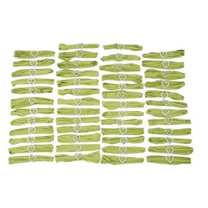 50 Pcs Grass Green Stretch Spandex Chair Soft Sashes Bands with Buckle Slider Sashes Wedding Party Decoration