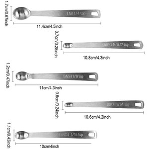5 Pcs Durable Stainless Steel Measuring Spoon Tableware Accessories Sauce Home Measuring Spoon Kitchen Scales Baking Tool Mini