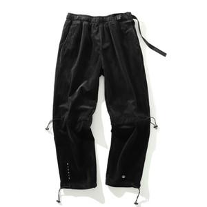 Ayak bileği uzunlukta Taktik Kadife pantolonları 20ss Harfler İşlemeli Jogger Pantolon