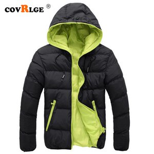 Covrlge 2019 Winter Warm Doudoune Homme Fashion Solid Down Jacket Men Casual Zipper Parka Hooded Plus Size Canada Jacket MWM074