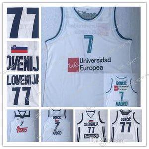 camiseta para hombre Ediwallen Luka Doncic 7 Real Madrid de baloncesto de la Euroliga Europa jerseys # 77 Luka Doncic equipo Color Blanco cosido de calidad superior