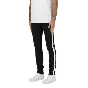 Hombre de los vaqueros de diseño a rayas con paneles Jeans Moda delgado color natural lápiz de los pantalones para hombre Casual Ropa