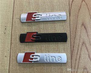 3D S خط Sline سيارة الجبهة مصبغة شارة السبائك المعدنية ملصقات ملحقات التصميم لأودي A1 A3 A4 B6 B8 B5 B7 A5 A6 C5 C6 A7 TT