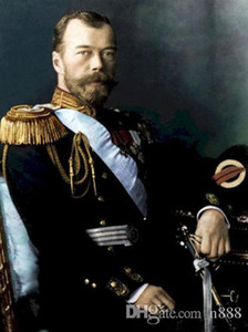 HD Imprimer huile peinte à la main peinture Art portrait mâle tsar Nicolas II assis avec l'épée Home Decor Sur mur toile Art P143 200315