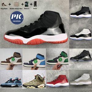PK версии 1 Travis SCOTTS 1S Mens Basketball обувь UNC синий Bred 11 Кактус Джек Concord 45 Дизайнер Спортивные тапки Тренеры с коробкой