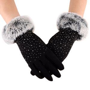 Elegant Women Screen Gloves Full Finger Faux Fur Thicken Winter Warm Mittens Female Cashmere Glove Hand Warmer Guante Mujer G027