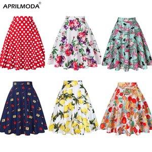 Mujeres Faldas limón amarillo limón Impreso de cintura alta 50s 60s oscilación del Rockabilly plisado Midi faldas femenino ocasional de la falda de verano 2019