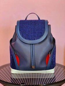Vera pelle Zaino Uomini Donne top progettista borse picco catena di pelle di agnello con cristallo gira colore rosso nero packbag Big scuola zaino