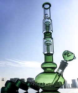 Tall Heady Double 4-Arms Trees Perc Glass Bong Big Beaker Ice Pinch Bongs Glss Water Pipe Dab Oil Rigs For Smoking With Bowl Grinder