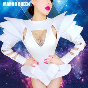 Branco Pedrinhas One Piece Bodysuits Cantora Sexy Drag Queen Show Dance usar trajes Stage