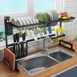Bricolage noir en acier inoxydable drain de l'évier de cuisine rack étagère à deux étages évier de cuisine Porte organisation vaisselle Tablettes 2 tailles