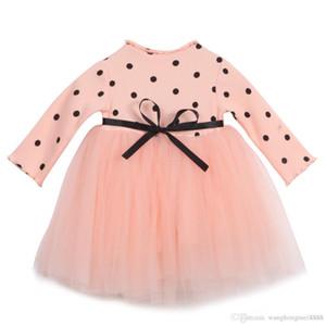 Sevimli Yenidoğan Çocuklar Babys Kızlar Giyim Uzun Kollu Örgü O-Boyun Pamuk Sashes Dot Dantel Tül Tutu Elbise Çocuk Bebek Kız Giysileri