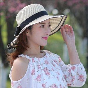 Al aire libre precioso nudo del arco del sombrero raya de las mujeres sombreros de la manera Dome Grass mujeres sombrero de primavera y verano del casquillo chicas se casquillo de Sun
