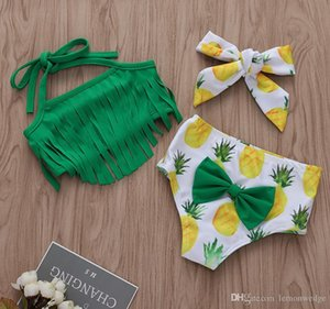 Pineapple Print Newborn Baby Girls Tassels Swimwear Swimsuit Bathing Suit Beachwear Bikini Clothes Set