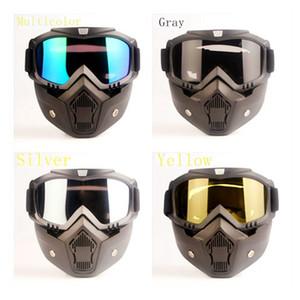 Ayrılabilir Motosiklet Taktik Yüz Gözlük Maske Moto Rüzgar Toz Geçirmez Yarışı Bisiklet Kask Koruyucu Gözlük Açık Yüz Maskesi