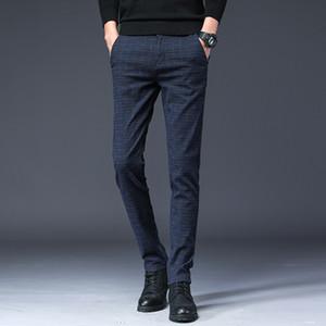 2020 Новое прибытие Mens Casual Бизнес Pant Мужчины Mid Full Length Марка Stretch Брюки Обычная Straight Black Gary Большой размер 28-38