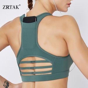 Zrtak Women Sports Bra With Phone Pocket Yoga Bra Breathable Quick Dry Top Sports For Women Gym Gauze Quality Sportswear