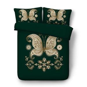 Floral gold grün Schmetterling Bettbezug-Set Dekorative 3 Stück Bettwäsche-Set mit 2 Kissen Shams Super Soft Tröster Abdeckung ohne Tröster