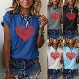 Love Print Womens Designer Tshirts Fashion Loose Crew Neck Tops Casual Solid Color with Beads Womens Clothing