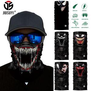3D Seamless Venom Magia Bandana Cuello Gaiter Verano Delgado Tubular Anillo Bufandas Sun Mask Face Shield Bufanda Bicicleta Hombres