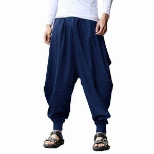 YJSFG HOUSE Pantaloni Harem Uomo di Marca Grigio Hippie Hip Hop Pianura Aladdin Martial Maschio Pantaloni Harem Pantaloni Larghi Larghi Drawstring Y19060601